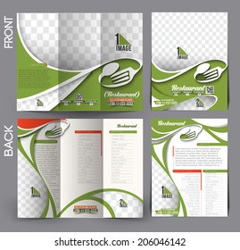 Set of Restaurant & Hotel Flyer & Tri-Fold Mock up Brochure Design