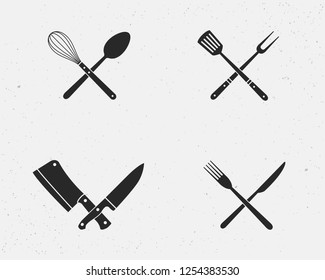 Set of restaurant knives set and barbecue grill tools icons. Restaurant knives isolated on a white background. Vector illustration