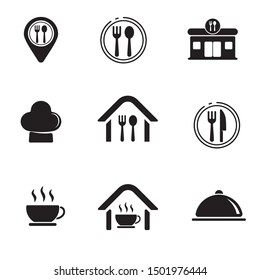 Set of restaurant related icon with black and white design