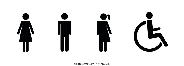 set of restroom icons including gender neutral icon pictogram vector illustration EPS10