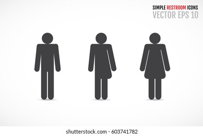 Set of restroom icons including gender neutral icon. Vector illustration for your graphic design.