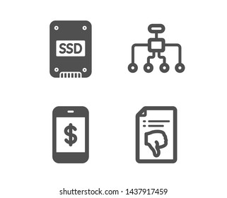 Set of Restructuring, Smartphone payment and Ssd icons. Thumb down sign. Delegate, Mobile pay, Solid-state drive. Decline file.  Classic design restructuring icon. Flat design. Vector