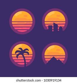 Set of retro 80 synthwave music flat icons.  New retro wave flat illustration