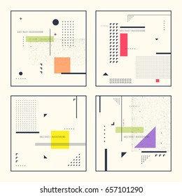Set retro abstract geometric backgrounds. The poster with the flat figures.