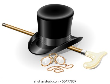 set of retro accessories with hat walkingstick and pince-nez point vector illustration, isolated on white background