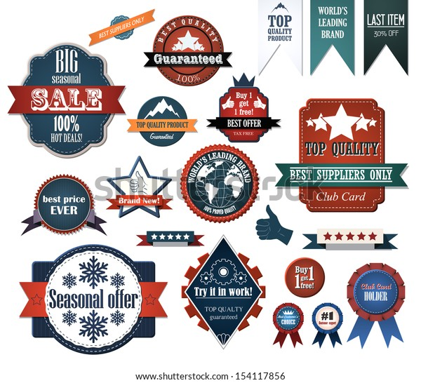 Set of retro advertising labels. EPS10 vector