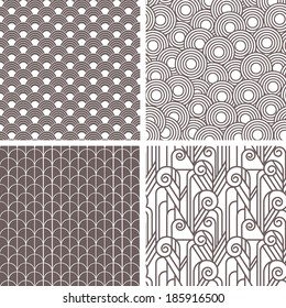 Set of retro art deco seamless patterns, design in 20's style