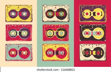 Set of retro audio cassettes, pop art style. Vector image.