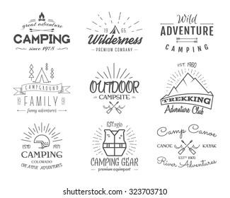 Set of retro badges and label logo graphics. Camping emblems and travel insignia. Monochrome vintage design. Family, canoe campsite, equipment shop etc. Vector illustration