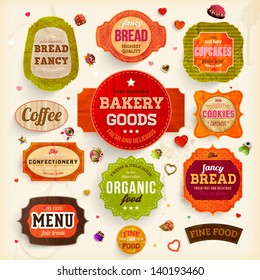 Set of retro bakery labels, ribbons and cards for vintage design, old paper retro textures. Vector illustration.