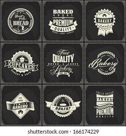 Set of retro bakery labels for vintage design, Chalk typography design on blackboard