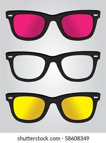 Set of retro black sunglasses