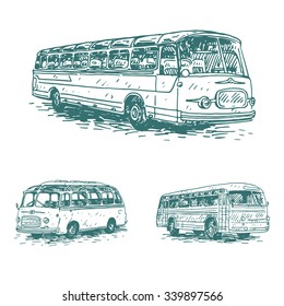 Set of retro buses. Picture of vintage transport. Old times. Vector hand drawn sketch.