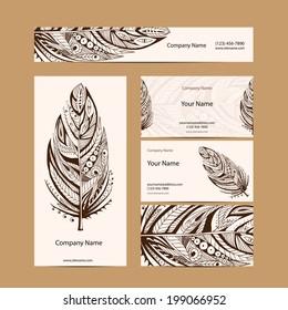 Set retro business card. Vector background. Card or invitation. Vintage decorative elements. Hand drawn background. Islam, arabic, indian, ottoman motifs.