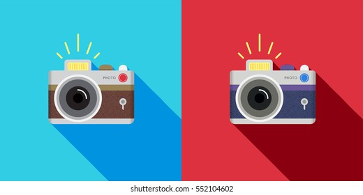 Set of Retro camera in a Flat style. Vector.