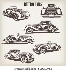 Set of retro car.