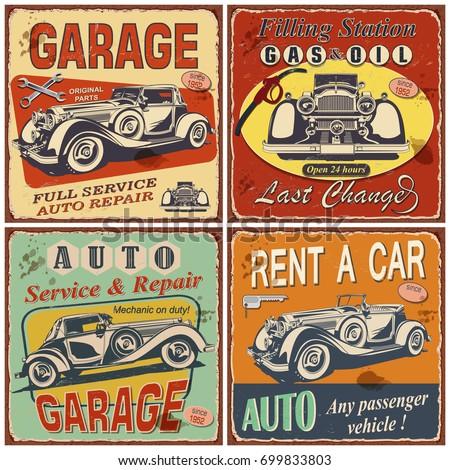 set of retro car postersgaragefilling stationrent a car repair