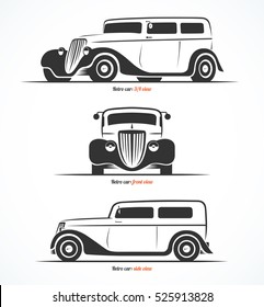 Set of retro car silhouettes. Vintage or classic car illustrations. Front, side and 3/4 view. Vector background