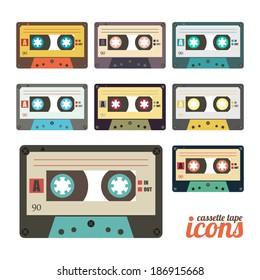 set of retro cassette tape icons