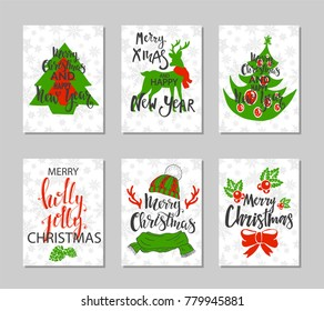 Set of retro Christmas cards.Vector illustration.Lettering, typography.