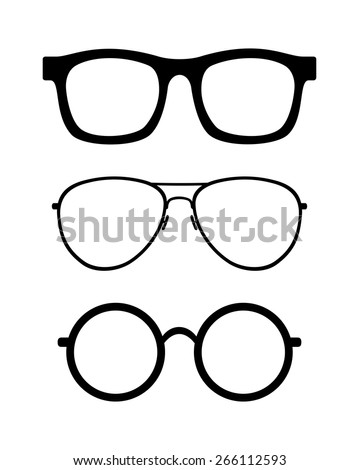 c9dcf648d778 Set Retro Classic Glasses Round Wayfarer Stock Vector (Royalty Free ...
