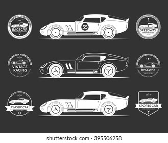 Set of retro classic sports racing car silhouettes and vintage car service labels, emblems, logos, badges isolated on dark background. Vector illustration