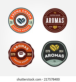 Set of retro coffee house badges, labels, logo design templates