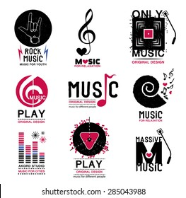 Set of retro Collection of music logos and emblems. Design elements made in vector. Recording studio, music notes,symbol, and vintage musical symbol.