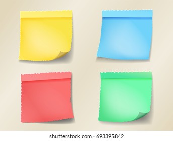 Set of retro color sheets of note papers. Post paper cut design,  Four sticky notes. Vector illustration
