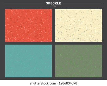 Set of retro color tone background speckle pattern texture. Dirty specks grit rough sand vintage style. Grunge effect. Vector illustration