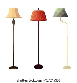 Set of retro colored floor lamps on white background in the style of a polygon. Vector illustration.