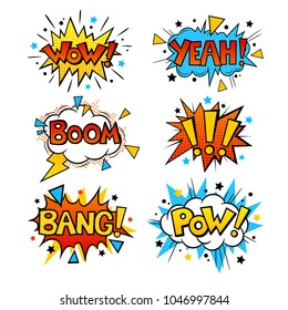 Set of retro colorful comic speech bubbles set with halftone shadows. BANG, WOW, YEAH, BOOM, POW