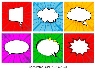 Set of retro comic books. Cartoon empty speech bubbles. Colorful pop art style background frames. Vector illustration