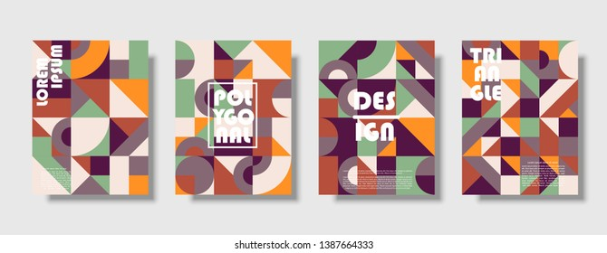 Set of retro covers. Collection of cool vintage covers. Abstract shapes compositions. Vector - Shutterstock ID 1387664333