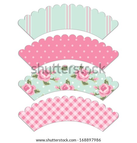 Set Of Retro Cupcake Wrapper Templates In Shabby Chic Style Isolated On White Background