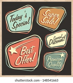 Set of retro design elements. Artistic concept of promotional labels, badges, stickers, ads and bubble speeches. Vintage collection of advertisements and coupons.