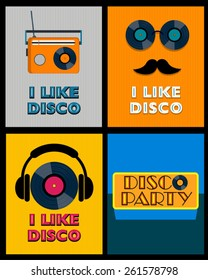 set of retro disco posters