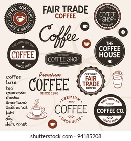 Set of retro and drawn coffee badges and elements