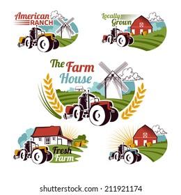 Set of retro farm fresh emblems, badges and design elements for your design