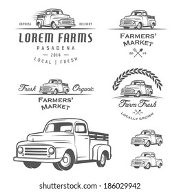 Set of retro farming labels, badges and design elements