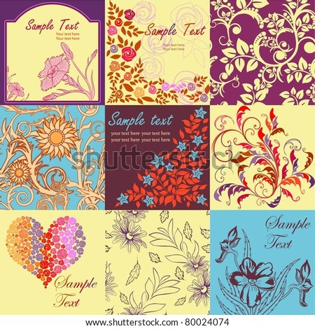 set retro floral backgrounds seamless patterns stock vector royalty