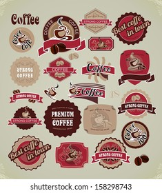 set of retro frames labels with signs of quality coffee