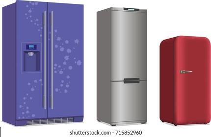 Set Of Retro Fridge Refrigerator.