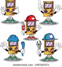 set retro game caracter cartoon mascot with telephone sign plumber contractor mecanic