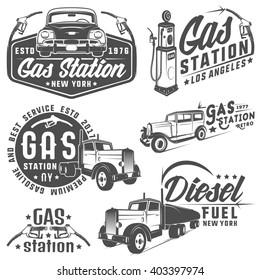 Set of retro gas station car and design elements ,emblems,logo,labels.