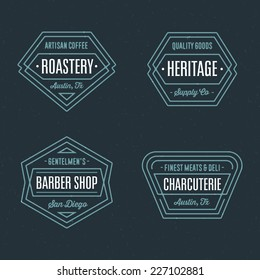 Set of retro geometric badge logo design templates with vintage feeling for a wide variety of businesses