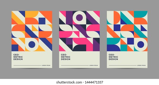 Set of Retro Geometric Covers. Abstract Shape Compotition.Vector 10