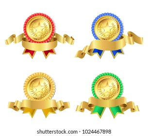 set of retro golden award with stars and ribbons
