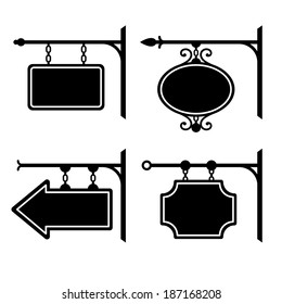 Set of retro graphic forged signboards. Vector