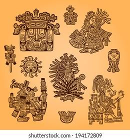 Set of retro graphic image of the Maya. Maya design element. Vintage engraving object.